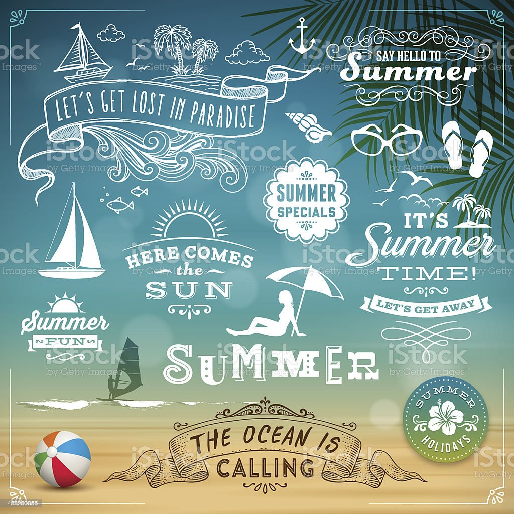 Summer Design Elements vector art illustration