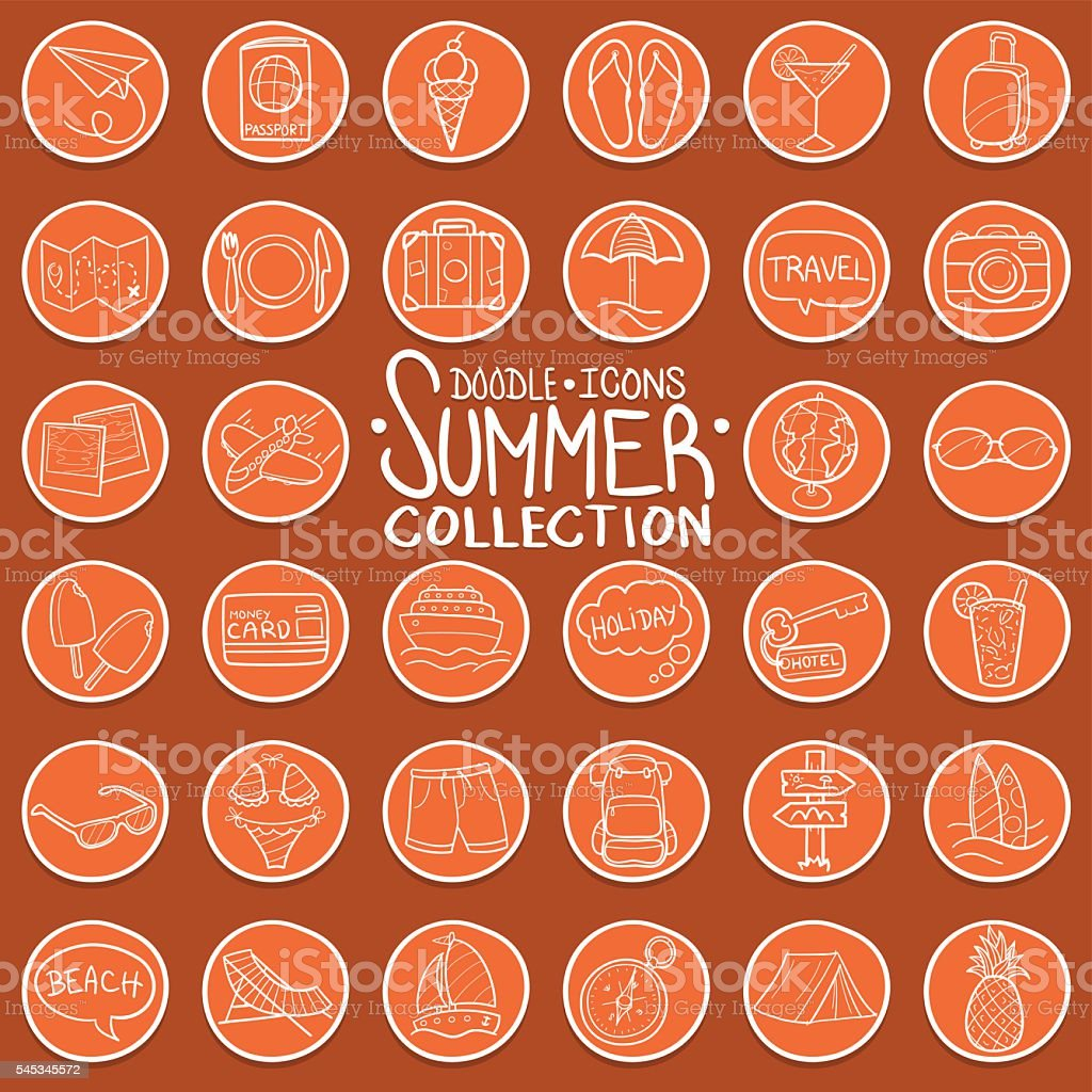 Summer Doodle Icons vector art illustration