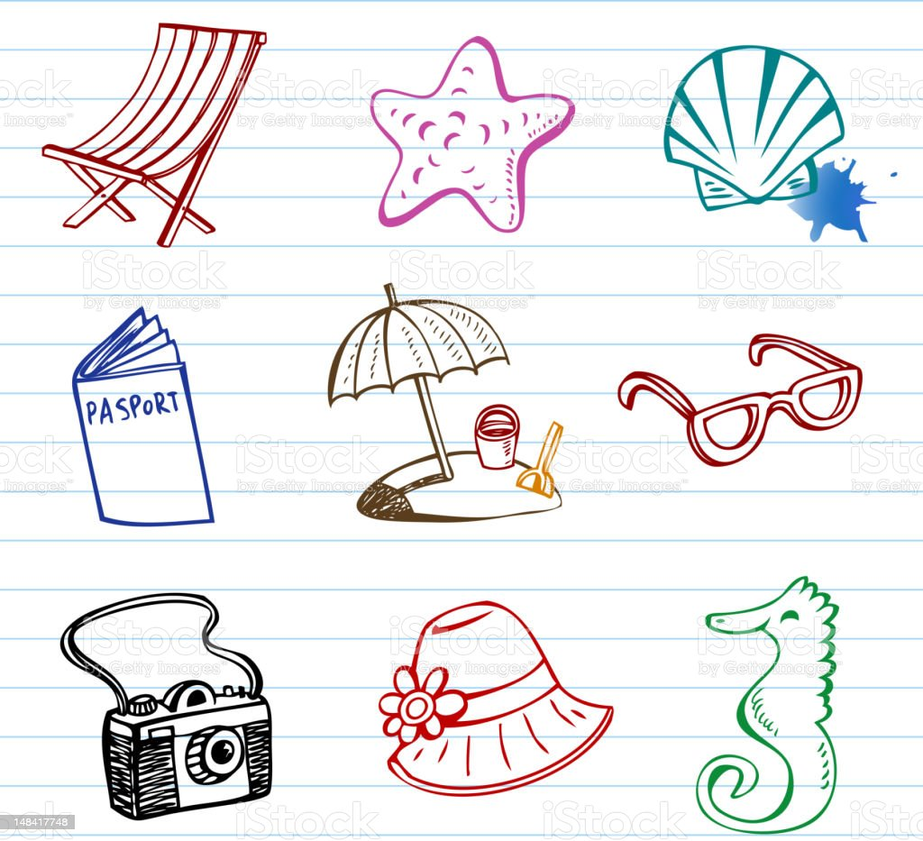 Summer doodles royalty-free stock vector art