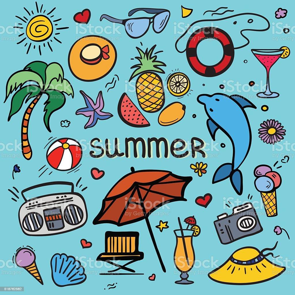 Summer doodles vector art illustration