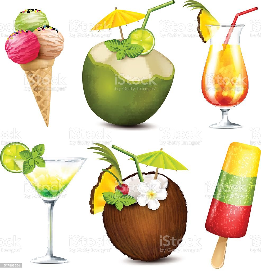 Summer drinks and ice cream vector art illustration