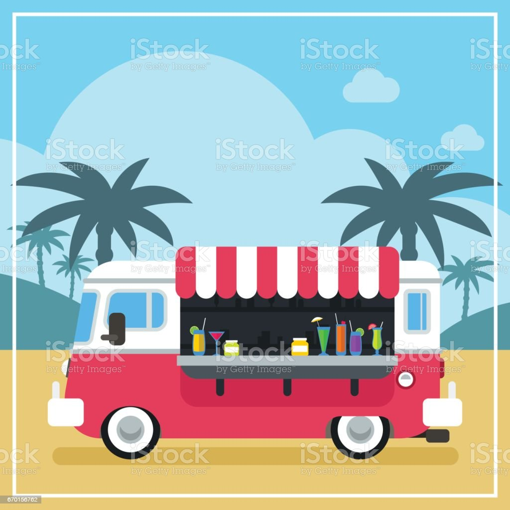 Summer Drinks and Smoothies Truck vector art illustration