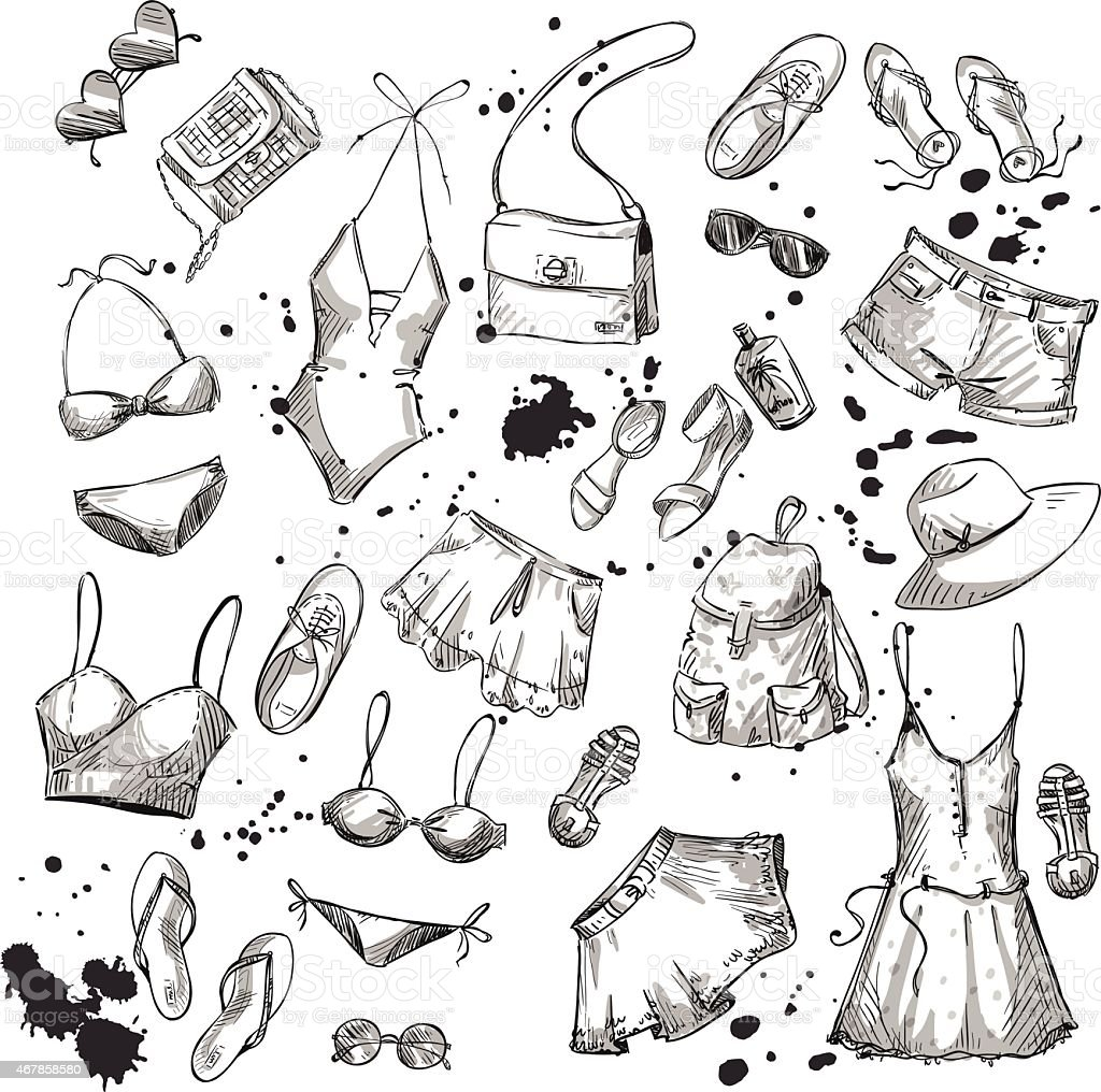 Summer fashion. collection of summer clothing and accessories vector art illustration