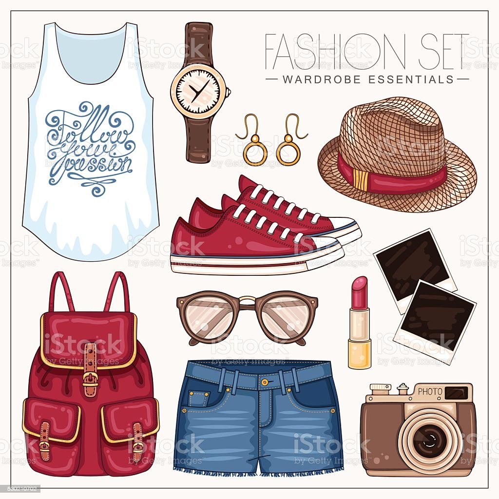 Summer fashion set with jeans shorts, backpack and sneakers vector art illustration