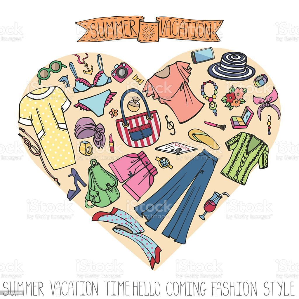 Summer fashion set.Woman colored vacation wear in heart vector art illustration