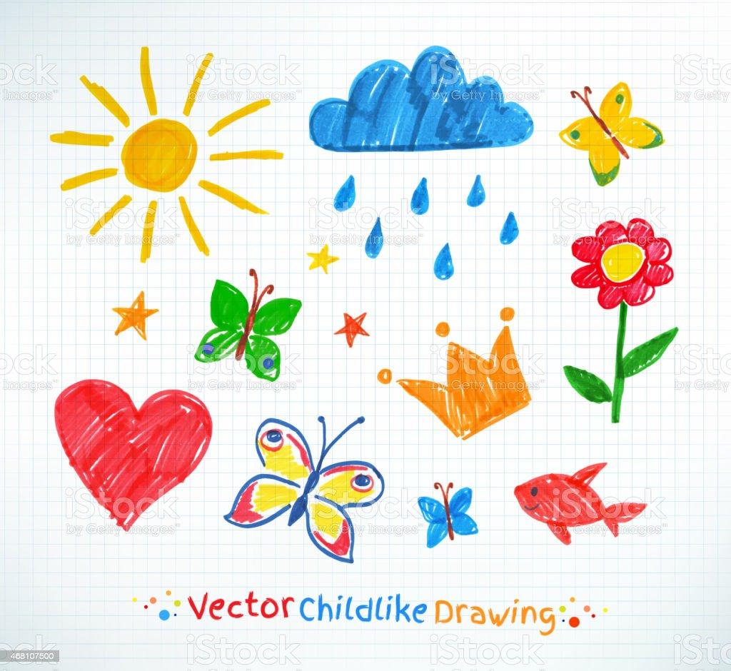 Summer felt pen child drawing vector art illustration