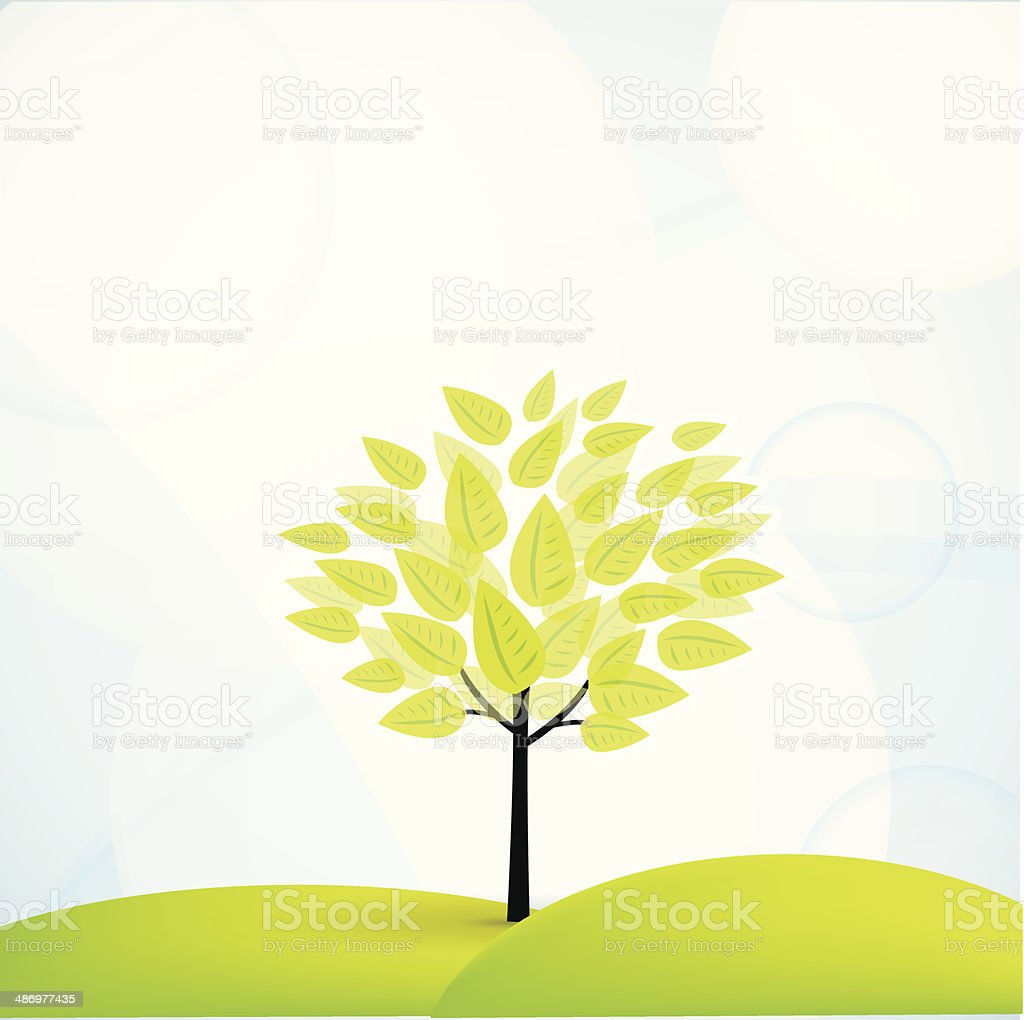 Summer field and tree with green leaves vector art illustration