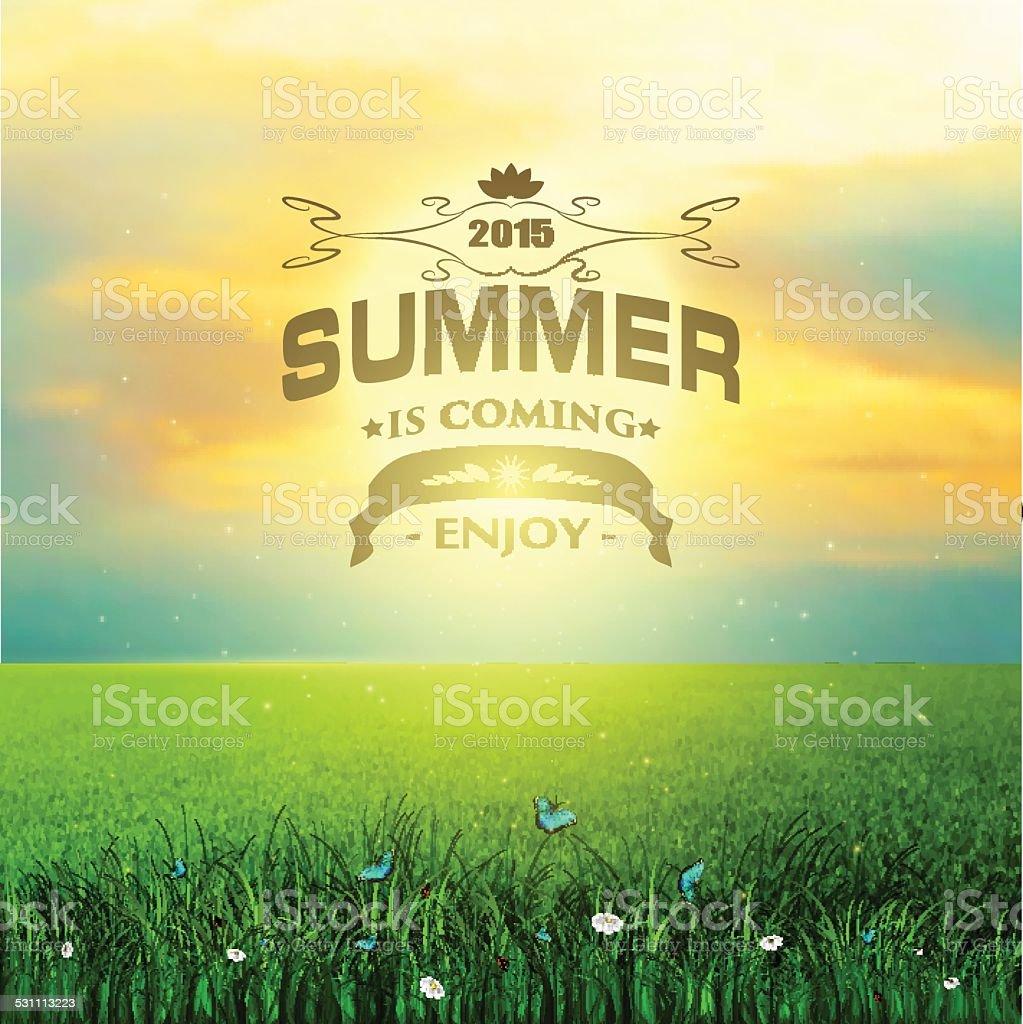 Summer, Field, Sky, Sun, Grass, Flower And Butterflies vector art illustration
