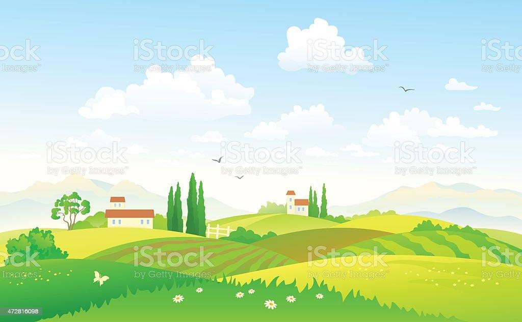 Summer fields vector art illustration