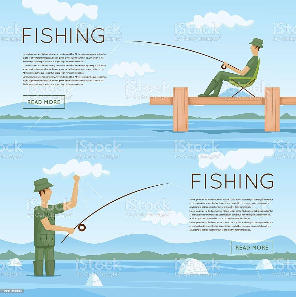 Summer fishing. Summer landscape with the river. vector art illustration