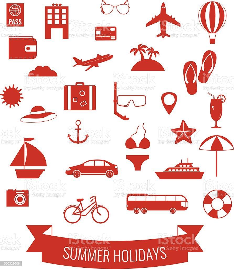 Summer flat icons set.  Summer holiday. Vector royalty-free stock vector art