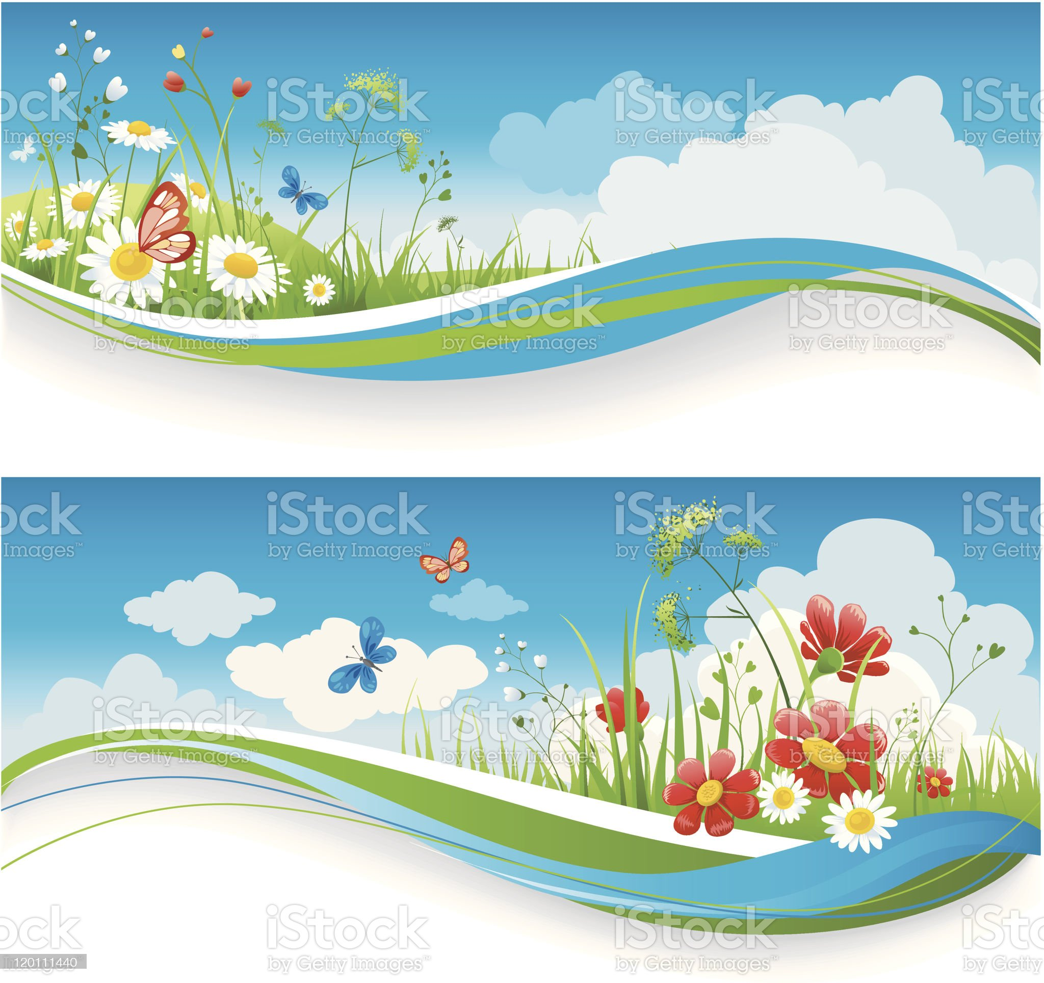 Summer floral banners royalty-free stock vector art