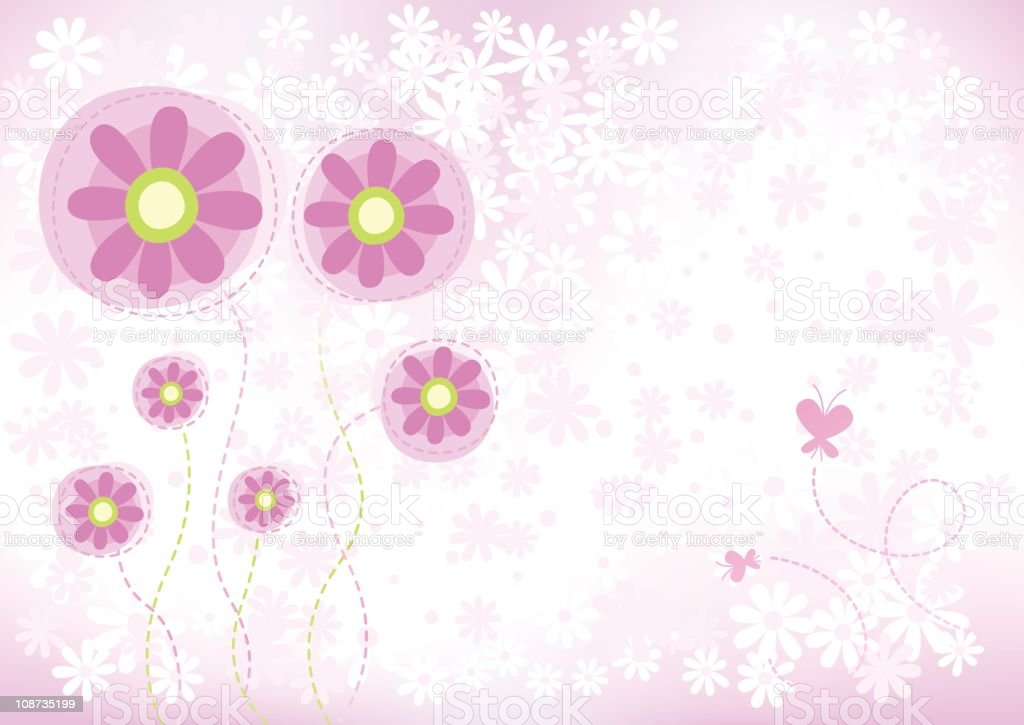 Summer flowers background vector art illustration