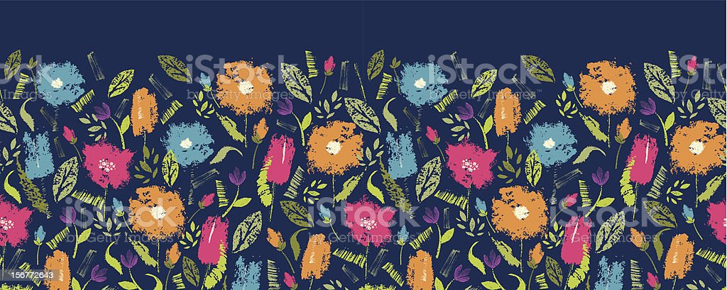 Summer Flowers Painted Horizontal Seamless Pattern Ornament royalty-free stock vector art
