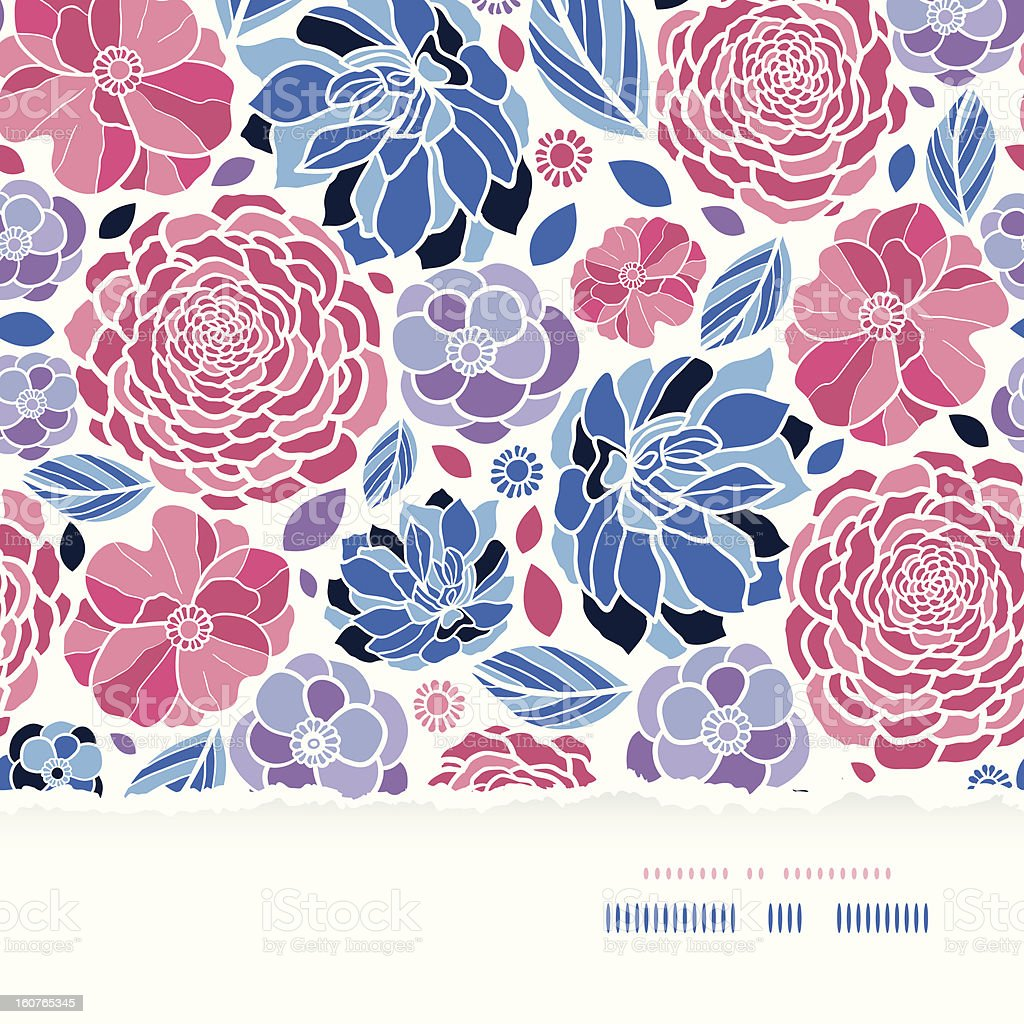 Summer flowers torn paper horizontal seamless background royalty-free stock vector art