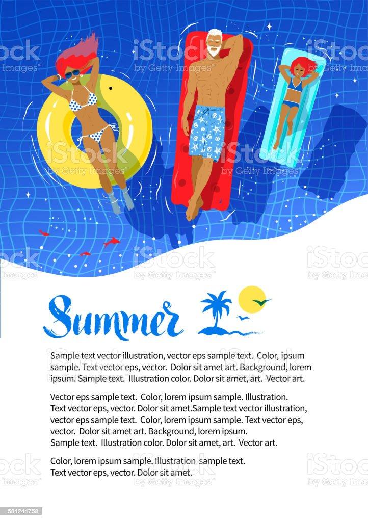 Summer flyer design with happy family vector art illustration