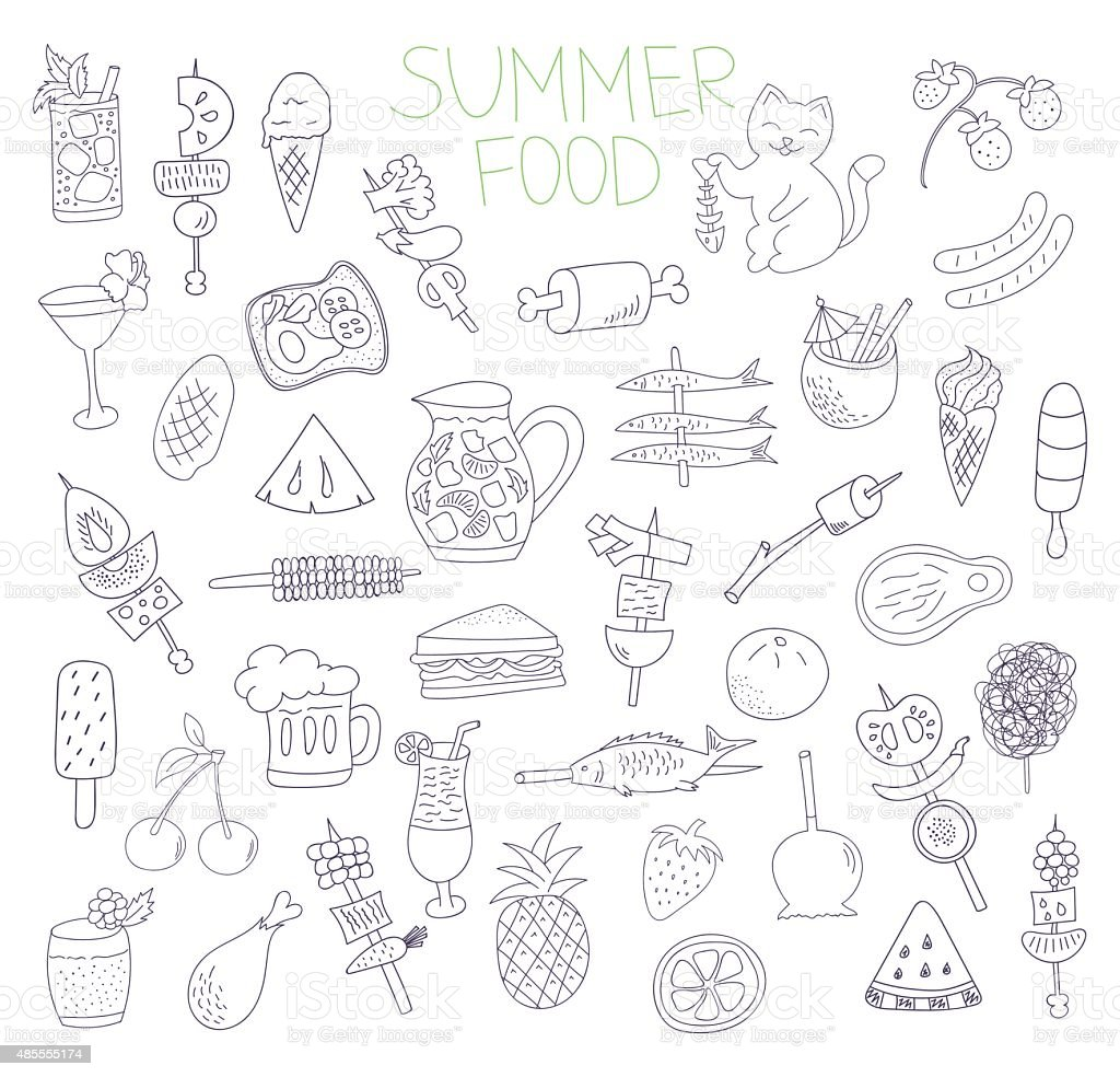 summer food doodles vector art illustration