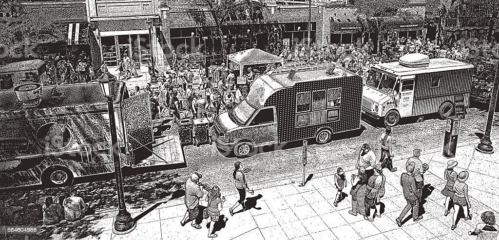 Summer Food Truck Festival vector art illustration