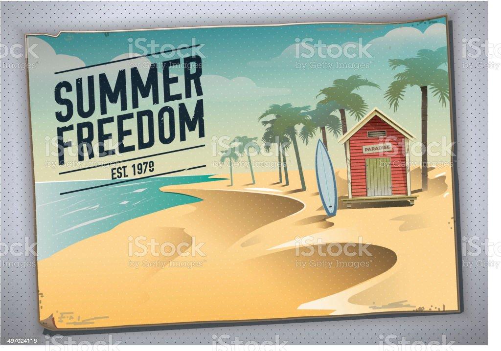 Summer freedom. Postcard of a beach hut in a paradise vector art illustration