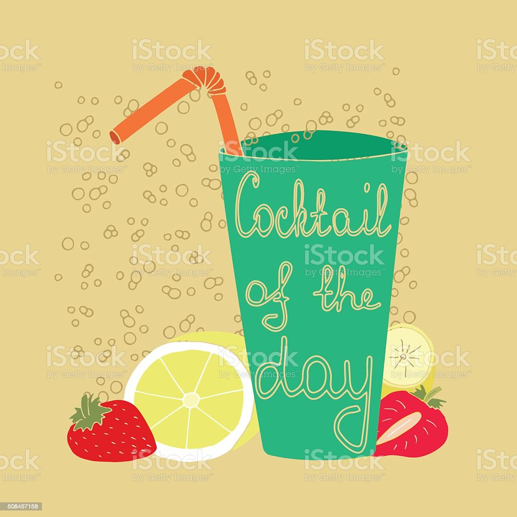 Summer fruit cocktail and bubbles vector art illustration