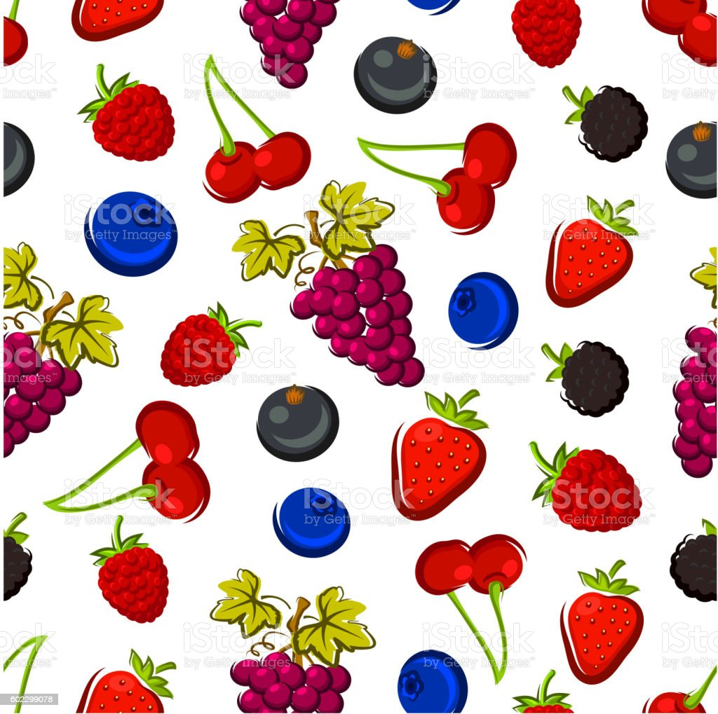 Summer fruits and berries seamless pattern vector art illustration