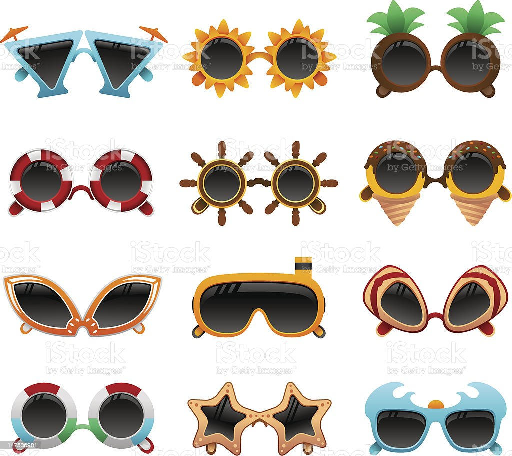 summer funky sunglasses set royalty-free stock vector art