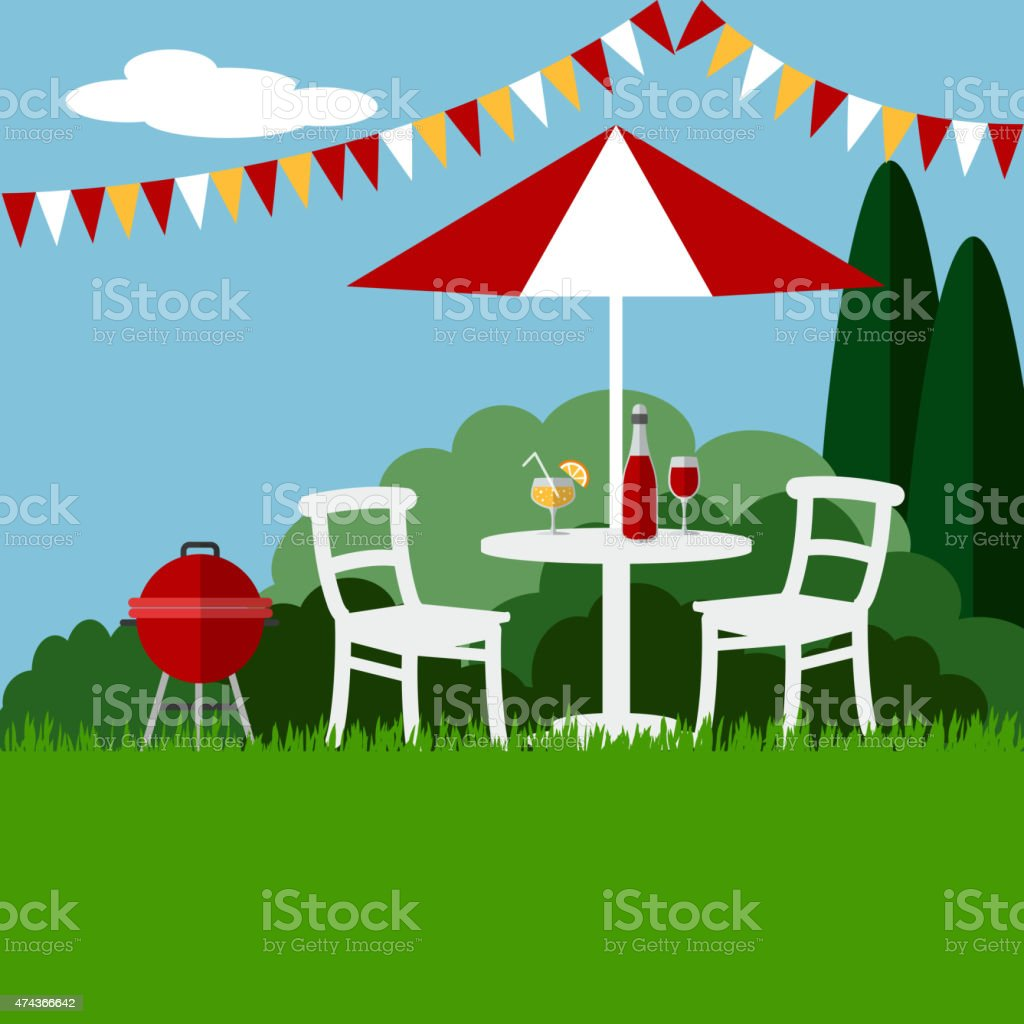 Summer garden party barbecue background, flat design, vector vector art illustration