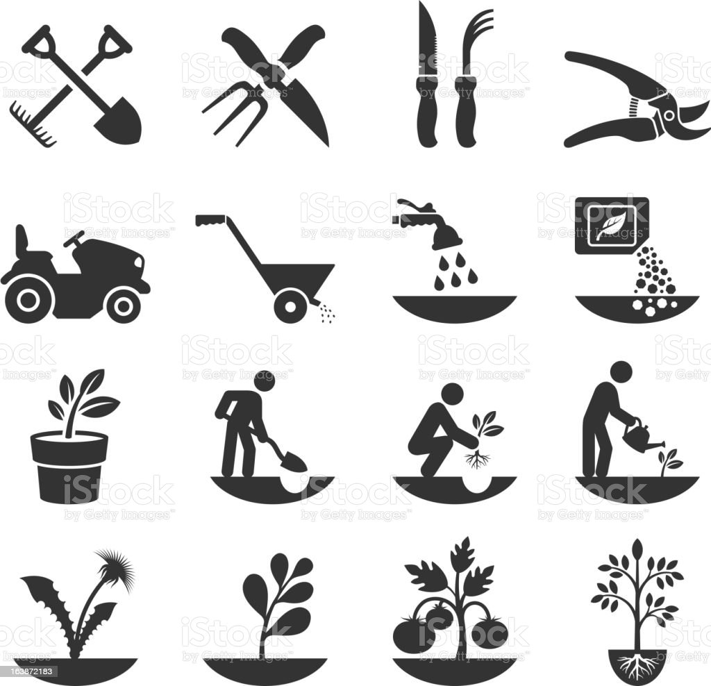 Summer Gardening and Farming Crops with Equipment royalty-free stock vector art