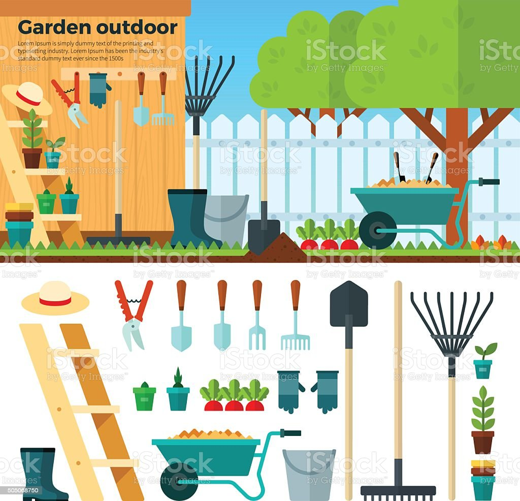Summer Gardening Landscape in Cartoon Style vector art illustration
