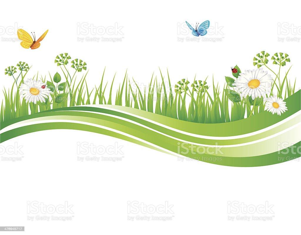 Summer grass vector art illustration