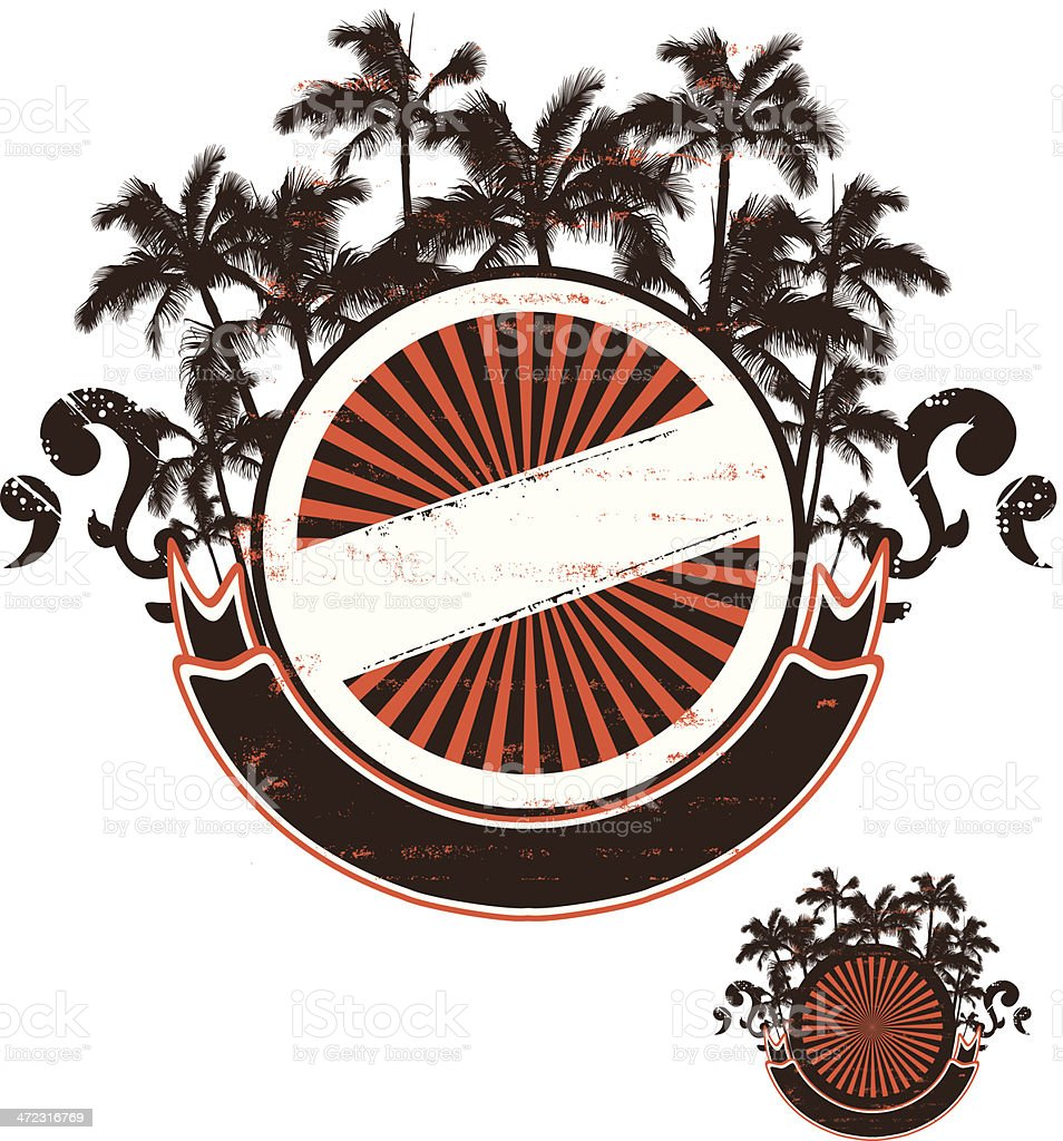 summer grunge shield with palms and banner vector art illustration