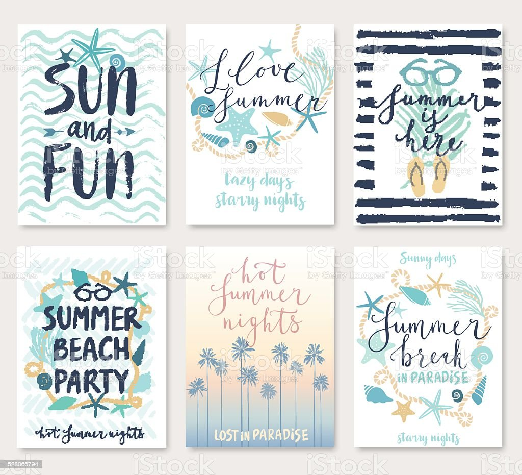 Summer hand drawn calligraphyc card set. vector art illustration