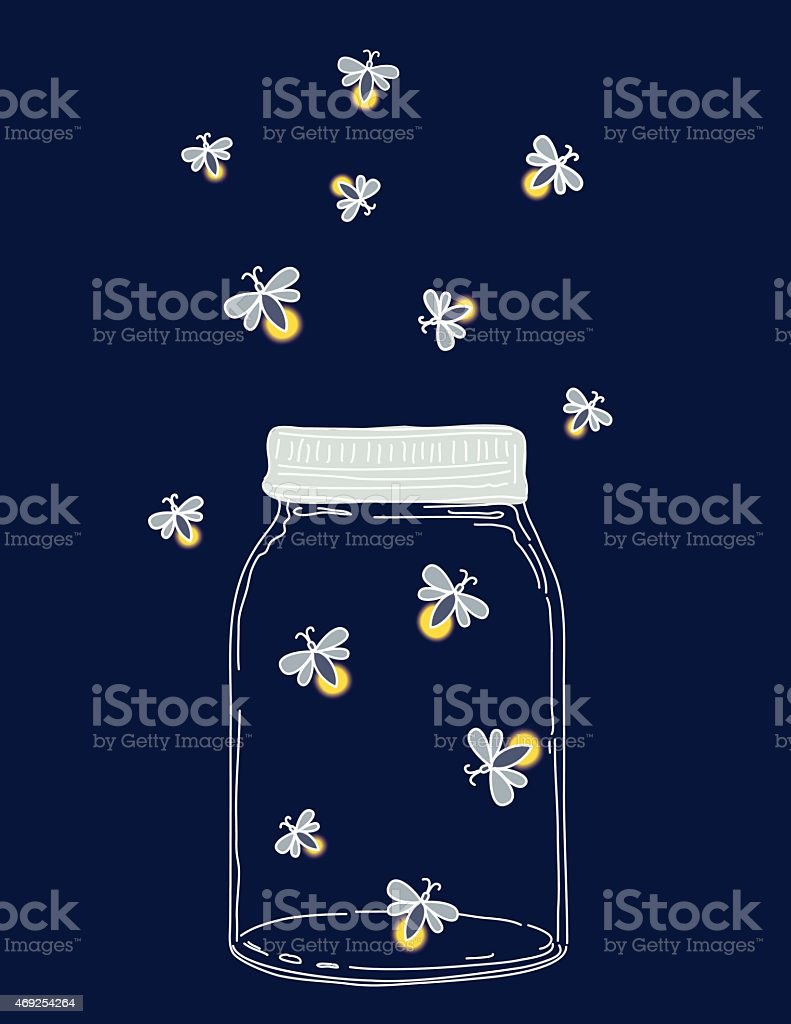 Summer Hand Drawn Mason Jars With Fireflies At Night vector art illustration