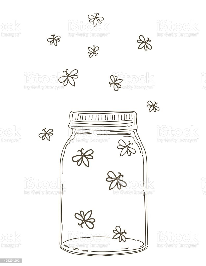 Summer Hand Drawn Mason Jars With Fireflies vector art illustration