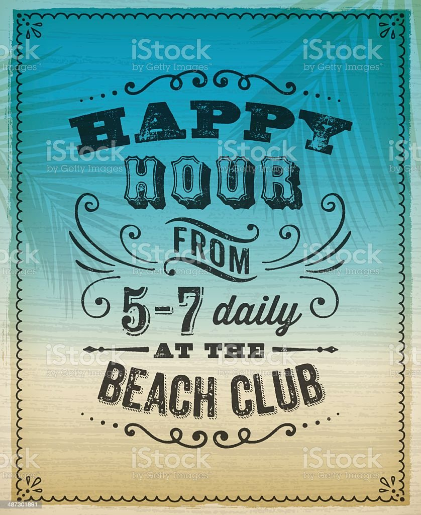 Summer Happy Hour Invite vector art illustration
