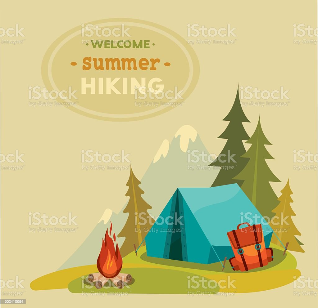 Summer hiking - tent, backpack and campfire. vector art illustration