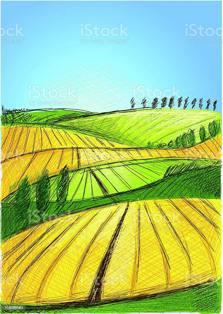 summer hill royalty-free stock vector art