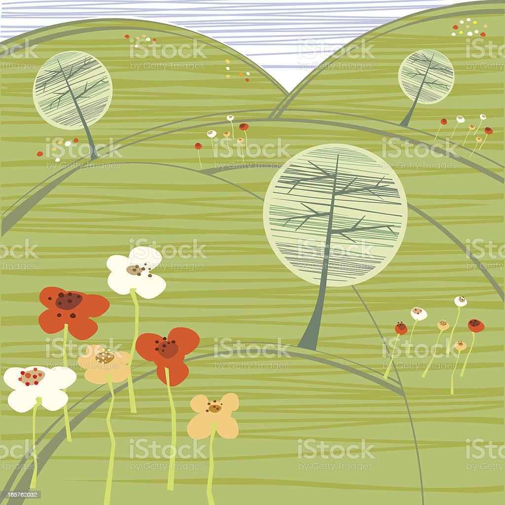 Summer Hills With Trees and Flowers royalty-free stock vector art