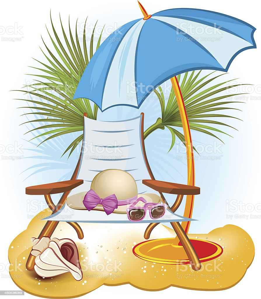 summer holiday background with palm,chair royalty-free stock vector art