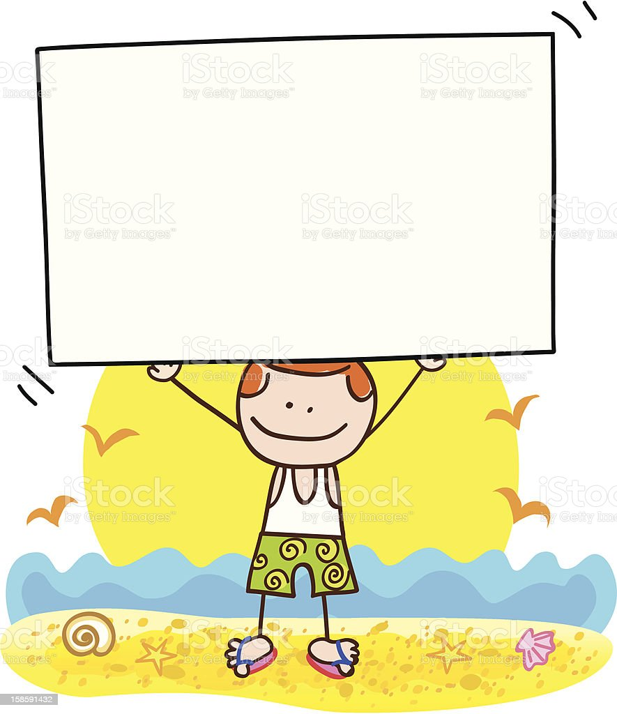 summer holiday beach man with banner cartoon illustration royalty-free stock vector art