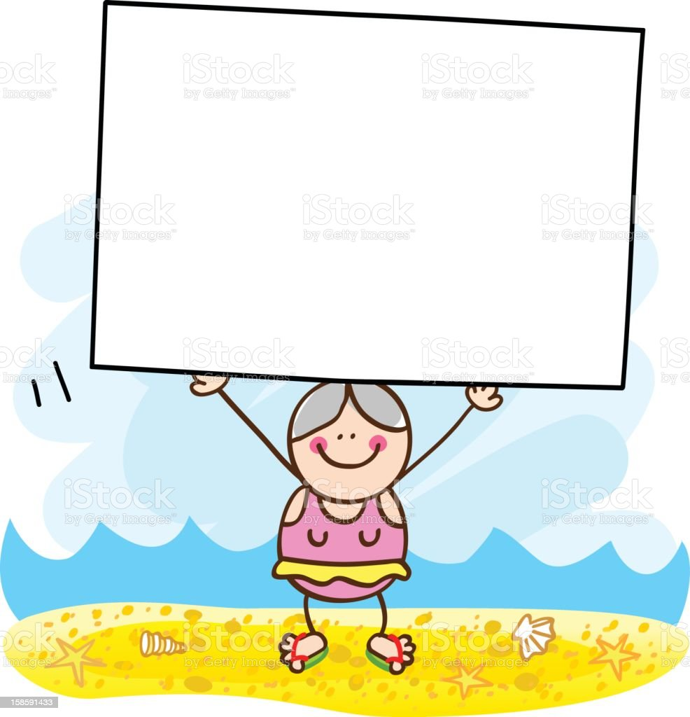 summer holiday beach old woman with banner cartoon illustration royalty-free stock vector art
