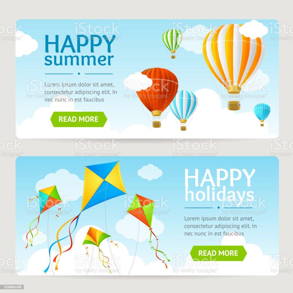 Summer Holiday Card Set. Vector vector art illustration