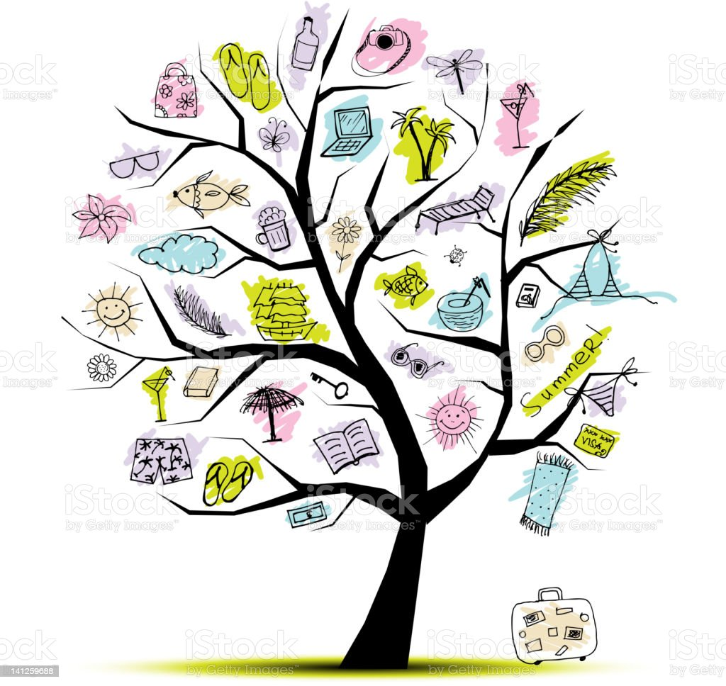 Summer holiday, concept tree for your design royalty-free stock vector art