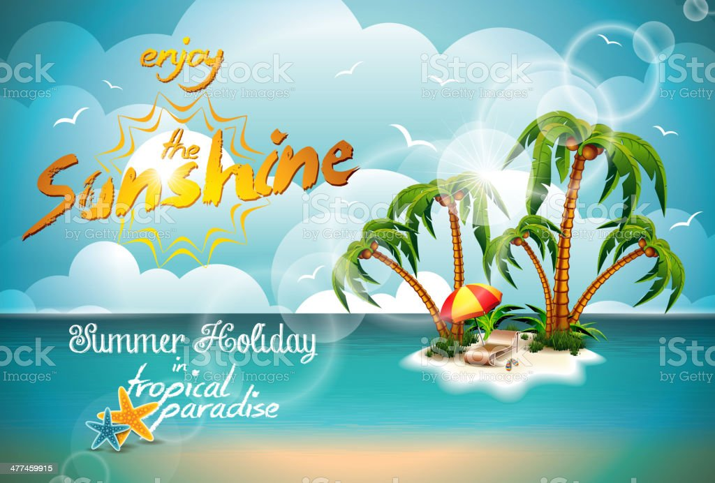 Summer Holiday Design with Paradise Island on blue sea background. royalty-free stock vector art