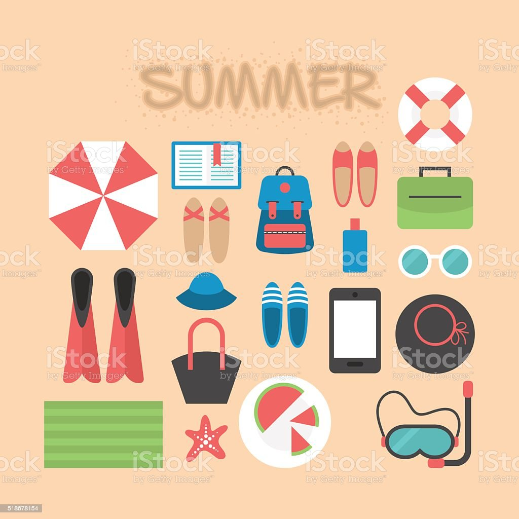 Summer holiday flat icons for infographic design vector art illustration