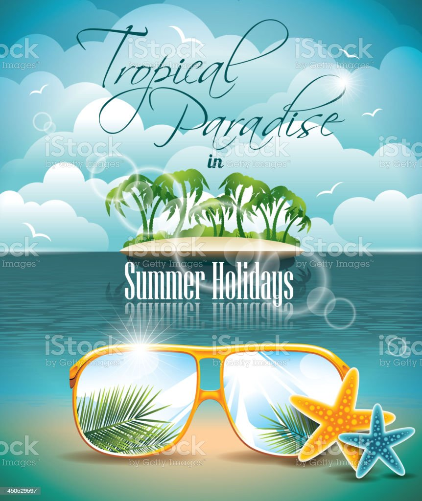 Summer Holiday Flyer Design with palm trees and Paradise Island royalty-free stock vector art