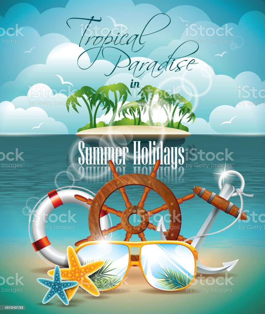 Summer Holiday Flyer Design with palm trees and shipping elements vector art illustration
