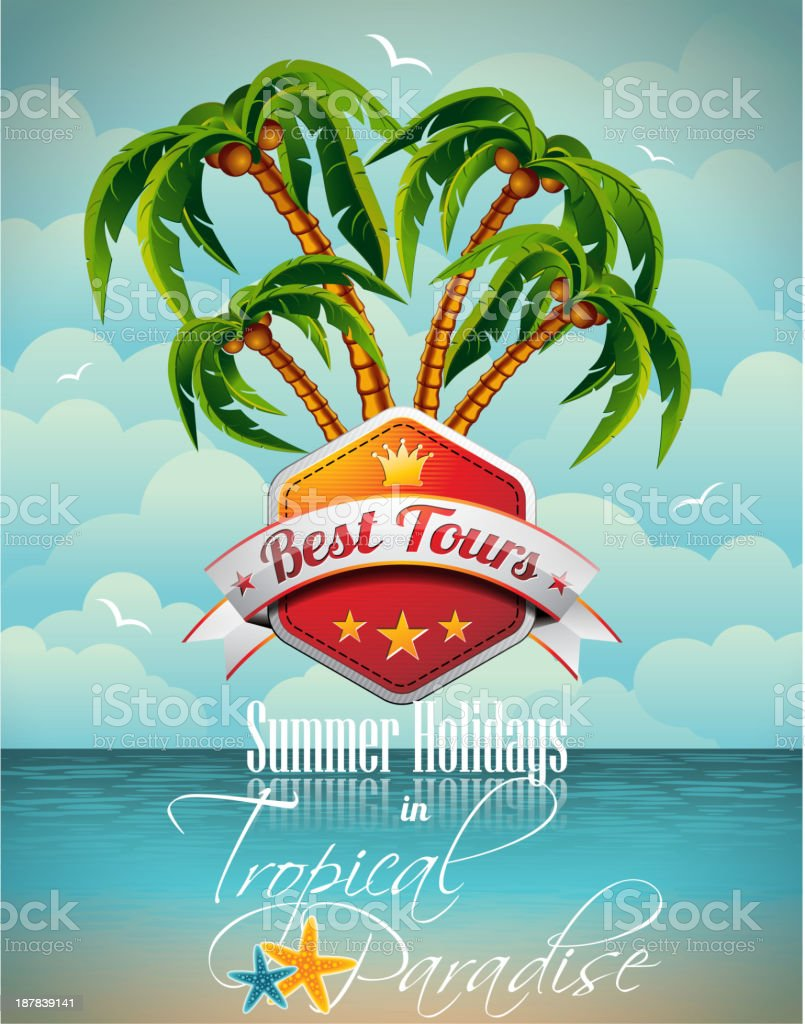 Summer Holiday Flyer Design with palm trees vector art illustration