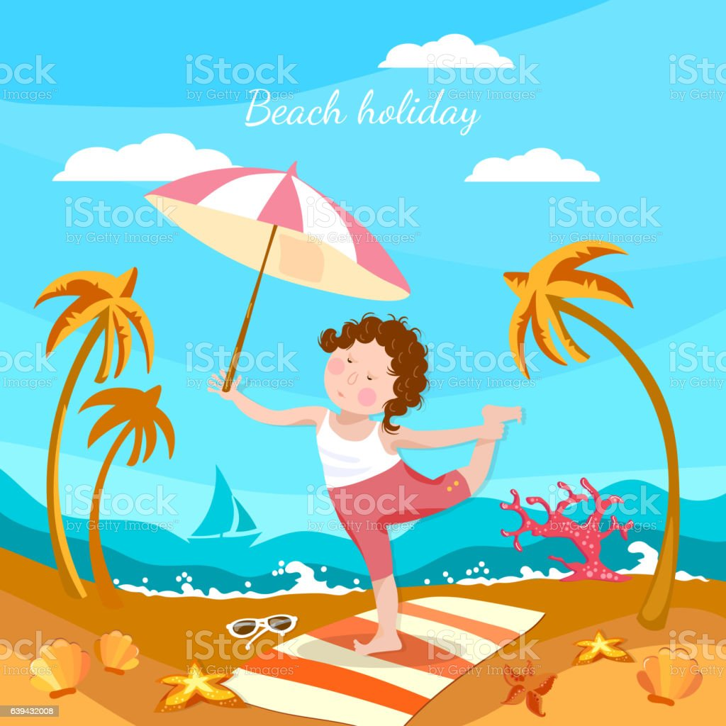 Summer holiday, happy child playing on the beach cartoon vector art illustration