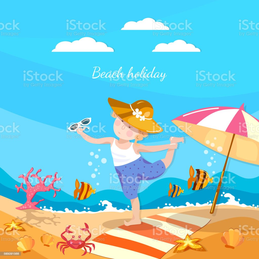 Summer holiday happy child playing on the beach vector vector art illustration